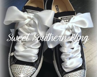 Classic Black and White Bling Converse shoes