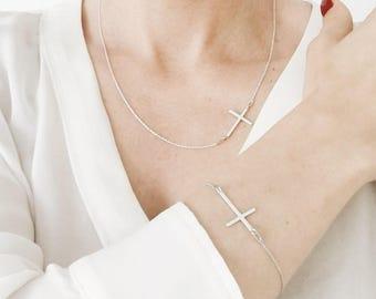Sideways Cross Silver Necklace
