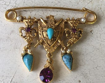 SALE! Florenza Coat of Arms Safety Pin Brooch