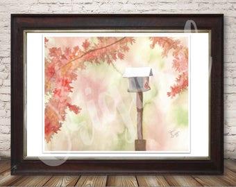 Fall Redbird and Birdhouse Watercolor