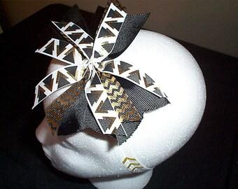 Aztec Print Black and White Hairbow on White print Headband