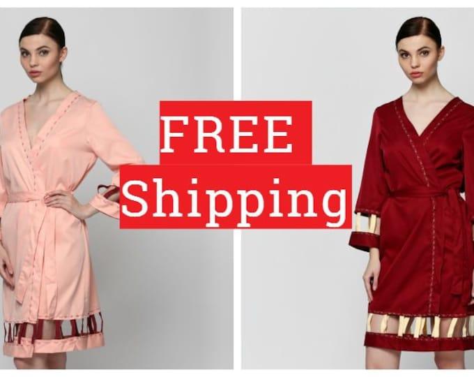 Brides Robe, Robe Satin, Bride Kimono, Cotton Bathrobe, Cotton Bath Robe, Kimono Bathrobe, Wedding Robes, Cotton Wedding Robes, Yellow Robe