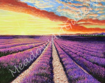 Sunrise over Lavender Fields, Provence, France, acrylic painting, realistic, realism,  original artwork, landscape