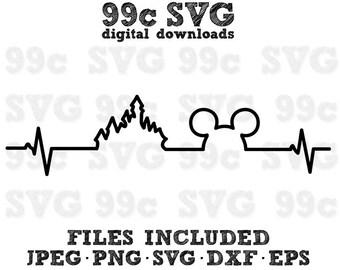 Mickey Magic Castle Heartbeat SVG DXF Png Vector Cut File Cricut Design Silhouette Cameo Vinyl Decal Disney Template Heat Transfer Iron