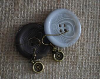 Dainty bronze button earrings