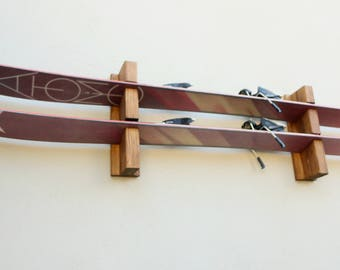 wood ski rack, ski holder, Winter sport accessories storage, handmade ski rack, ski storage, skies, gift for skiers, real wood, ski display