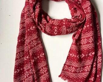 Red snowflake scarf,  christmas scarf, festive scarf, xmas scarf,