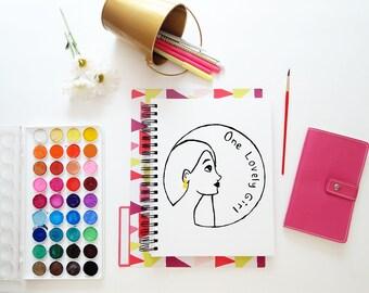 Hand Drawn Premade Logo - One of a Kind OOAK - Cute, Feminine, Elegant Girl with Jewellery Design