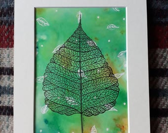 Green Leaf Design - Ink and Watercolour Original