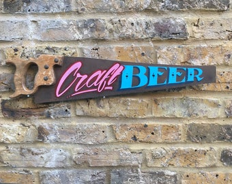 Hand painted sign / Hand painted Saw / vintage decor