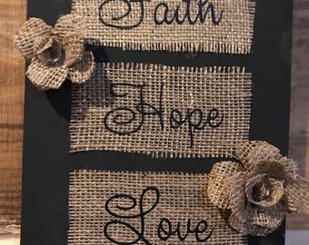 Wood Sign( Faith, Hope, Love)