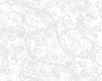 Holiday Homecoming White Swirls Fabric