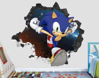 Sonic Super Special Flash Smashed Wall Decal 3D Sticker Kids Art Decor  Vinyl Group Characters AH