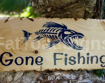 Gone Fishing Reclaimed Timber Sign, Skeleton Fish, Wood Signs, Rustic, Words on Wood, Gift Ideas, Handmade, Hand Painted