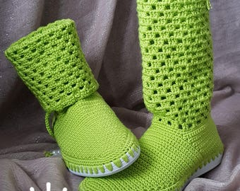Women's crochet boots/spring,summer and the autumn boots/walking boots/street boots/flexibile sole/Unique design/size 5