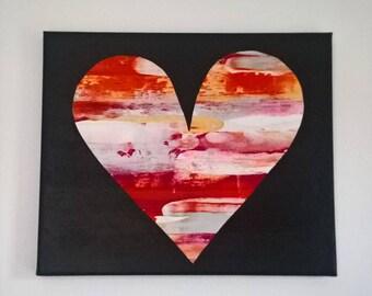 pink,orange,silver heart art
