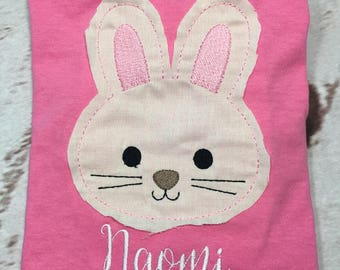 Easter Bunny Raggy Applique with name Toddler and Youth size FREE SHIPPING