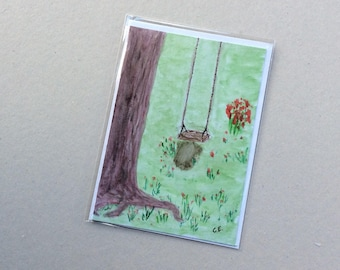For Swingers- Hand Painted Original - Art on a Card -Greeting card