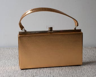 Vintage Gold Lame Silk and Lucite Evening Handbag Box Purse