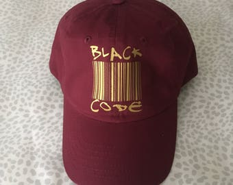 Burgundy Black Code Hat