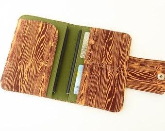 Passport Holder, Passport Wallet, Passport Cover for 2, Travel Wallet, Passport Organizer Brown Wood Grain Print - Ready Made, Ready to Ship