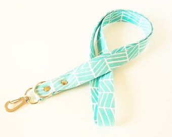 Aqua and White Lanyard, Fabric Lanyard, Work ID Holder, Key Lanyard, Teacher Lanyard, Key Card Lanyard, ID Badge Holder, Made To Order