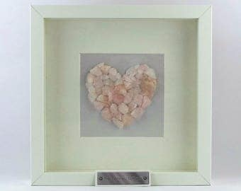 Rose Quartz Crystal Heart Frame - Can be personalised