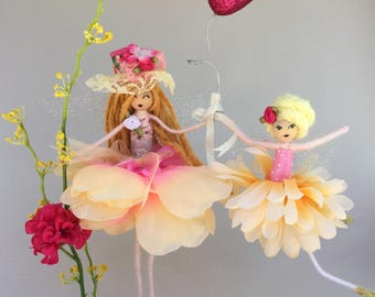 Handcrafted mother and daughter flower fairy doll, decoration , ooak doll, mothers love,