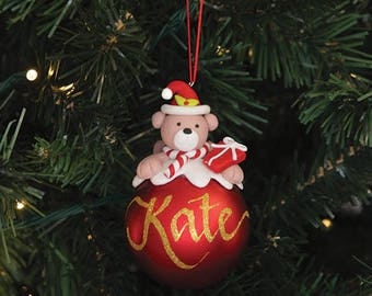 Teddy Character Personalised Red Christmas Decoration