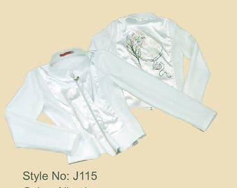 UNIKA Design Unique Women White Jacket Texture Flower Satin Evening Party