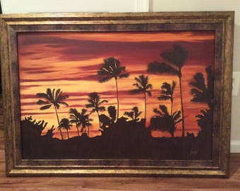 Palm trees oil painting. Framed!