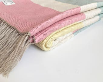 Handwoven Cotton Baby Blanket - Ice Cream Stripes