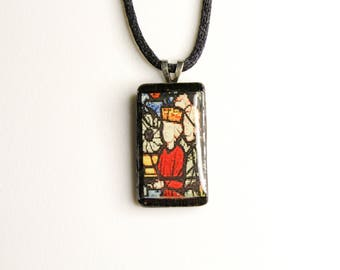 Stained Glass #3 Wooden Pendant