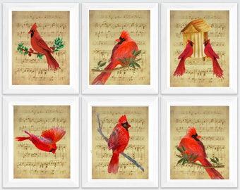 cardinal printable, cardinal wall decor, cardinal wall art, cardinal print, cardinal bird print, cardinal painting, sheet music art print