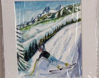 The Skier - Original Painting by Anne Sunderwirth of Denver
