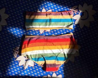 Vintage Chloe multicolor striped bandeau bikini