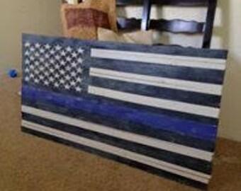 Thin Blue Line Flag-Distressed