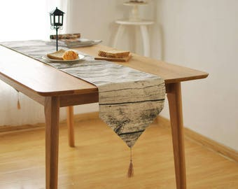 Attractive Amazing 100% Linen Wood Look Table Runner Looks Like Real Wood Rustic  Wedding Cabin Decor