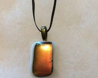 White fused glass pendant