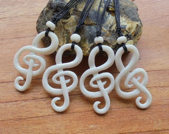 Melody Music Bone Necklace, Bone Pendant, Bali Bone Carving Jewelry  M25