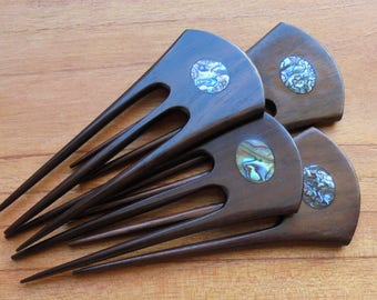 3 Prongs Wood Hair Sticks with Paua Shell Inlay, Hair Pin, Hair Fork, Hair Accessories HS25