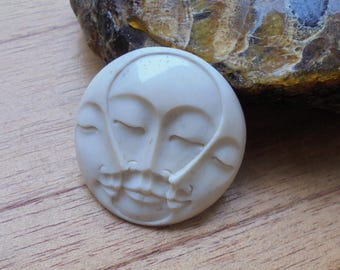 35 mm Moon Face Pendant, Triple Face Bead, Bali Bone Carving Jewelry MF 23NP
