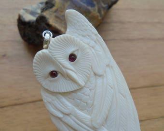 Owl Bone Pendant with Garnet Stone, Bali Bone Carving Jewelry  OWL 21