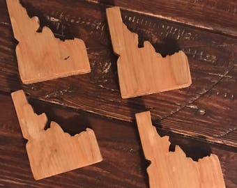 Handmade State / Country Outline Wooden Drink Coasters (4)