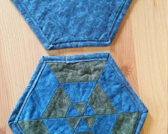 Quilted Pot Holders, one pair