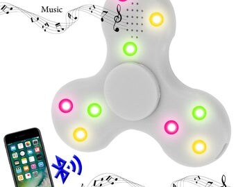 Fidget Spinner Bluetooth fidget spinner, musical spinner, white triangle hand tri-spinner for adhd, add, anxiety, and autism adults & childr