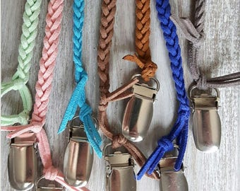 Braided Leather Pacifier Clip 7 colors