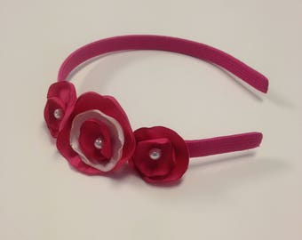 Pink headband with pink flowers