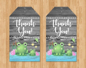 Frog Baby Shower Party Tags - Reclaimed Wood - Baby Frog Favor Tags - Baby Shower Tags - Froggy Themed Shower - Frog Party Favors