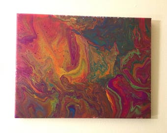 Blacklight-Reactive Neon Acrylic Flow Cell Painting